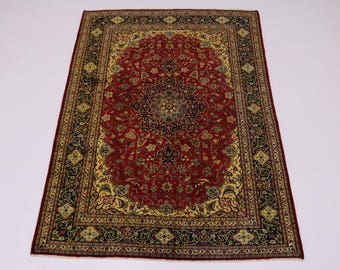 Traditional Handmade S Antique Mashad Persian Rug Oriental Area Carpet 6'5X9'6