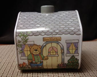 Bears House tin coin bank made in China