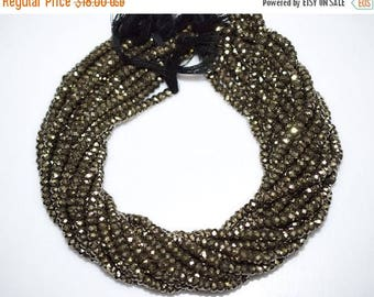 50% OFF 1 Strand Natural Pyrite Faceted Rondelle Beads 13 Inch Strand , Pyrite Rondelle Beads , Pyrite Rondelles , 5.25 mm - MC673