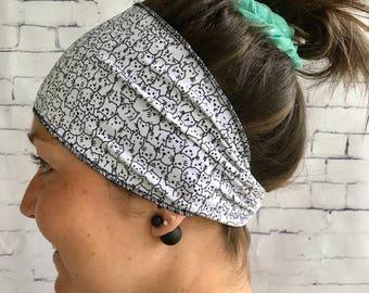 White sport hair headband with cat