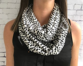 SALE * white scarf with black polka dots infinity scarf, ifinity scarf.