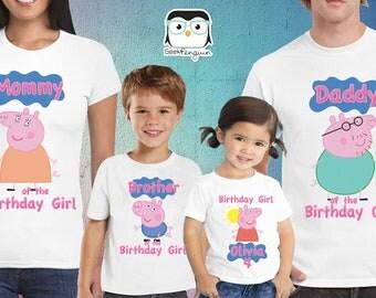 Peppa Pig Birthday Shirt, Peppa Pig Shirt for Girls, Personalized Peppa Pig Shirts, Family Peppa Pig Birthday Shirts , Peppa Pig Party