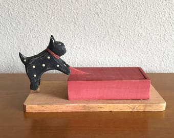Vintage Folk Art Cat and Trinket Box with Sliding Lid- Folk Art Jewelry Box