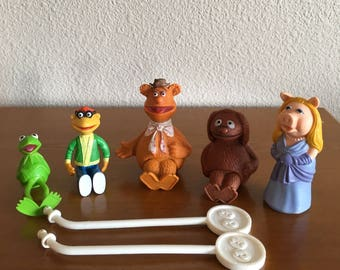 Vintage Muppet Stick Puppets- Kermit the Frog, Fozzy Bear, Miss Piggy, Gonzo, Rowlf and Animal