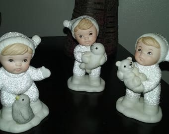 Set of 3 Home Interior Snow Babies Figurines NIB #5501 ~ Homco Figurines