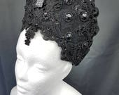 Gravestone Resin Gothic Kokoshnik Barok Frenchhood with cabochons and lace ready to ship