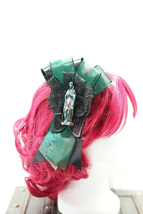 Gothic Madonna green & black bow hairpin brooch / Green Black bow with resin Madonna figure hair clip and brooch