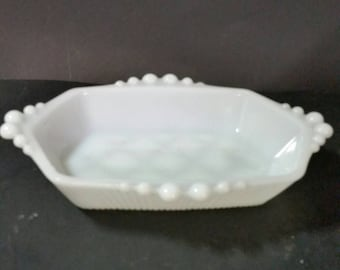 Vintage milk glass relish tray. Candy dish, trinket dish, soap dish.  Bubble handles