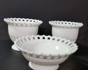 Vintage milk glass planters, vases, candy or nut dishes. Set of 3.