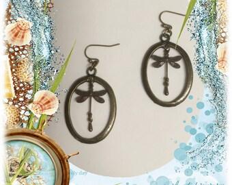 Brass Dragonfly Earrings