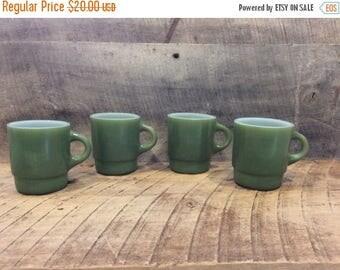 On Sale Green Fire-King Mugs Set , Set of Four Fire-King Mugs , Retro Coffee Mug , Fire-King Cup Stackable , C handle , Stackable Mug, Avoca