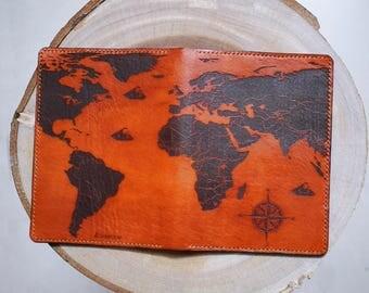 Vintage map- Leather Passport Wallet/Passport Cover/Passport Holder/personalize passport cover/travel gift/world map wallet/custom holder
