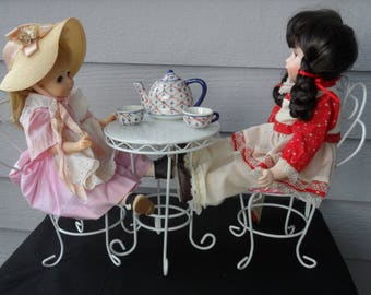 White Metal 3 Piece Doll Bistro Set, Display Piece with White and Red Cushions  1377