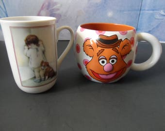 "Mugs Bessie Pease Gutmann ""In Disgrace"" , Disney  Muppets Fozzie Bear Large Mug Fozzie Bear In 3D On Front Banana In 3D On Back  1535"