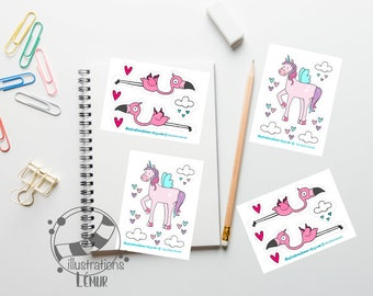 Small reusable repositionable stickers, flamingos, Unicorn, wall art miniatures, gifts, party, birthday, baby shower
