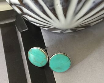 Kingman turquoise studs, turquoise studs,Turquoise earrings/American turquoise,Turquoise, blue studs,blue stone,stud earrings,blue earrings