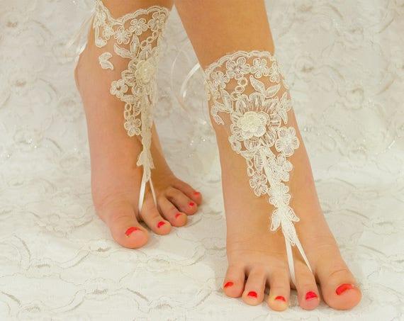 Beach wedding barefoot sandals, barefoot sandles, wedding barefoot sandals lace barefoot sandals