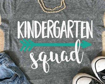 Kindergarten squad svg, Back to school svg, Kindergarten shirt, teacher svg, svgs , SVG, DXF, school svg, clip art, teacher shirt, eps