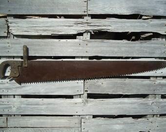 Vintage wood saw - Antique saw - Large metal saw - Large hand saw - Frame primitive - Antique wood saw - Long wood saw, Big Antique saw, Saw