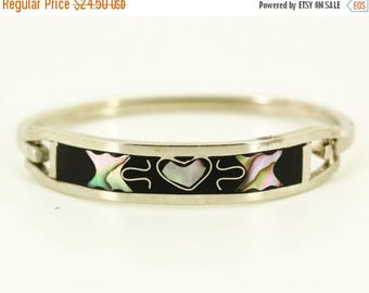 50% OFF 1970s Hecho En Mexico Silver Bracelet - Child Teen Inlaid Abalone Heart Butterfly Bracelet, Southwest Estate Jewelry, Mexican Silver