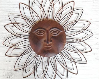 Metal Garden Art, Metal Garden Decor, Metal Sun Wall Art, Outdoor Wall Art