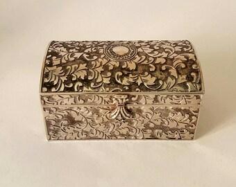 Silver Plated Vintage Trinket Box Chest Trunk Jewellery Jewelry Storage Blue Velvet Lining