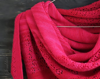 Knitted triangular shawl, oversized lace shawl, extra fine merino wool shawl Frozen Raspberries