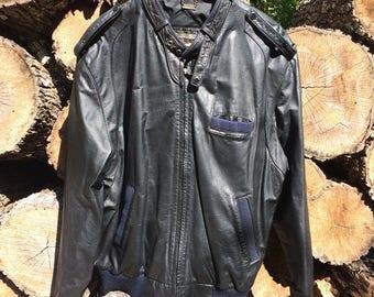 Vintage '90s Members Only Black Leather Jacket Sz 44 (L) USED