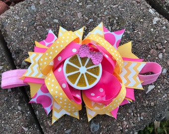 pink lemonade bow pink lemonade birthday bow pink lemonade headband