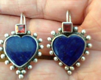 Sterling Lapis and Garnet Earrings