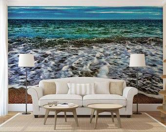 Wall Mural Tropic, Wave Wall Mural, Tropic Wall Decal, Sea Wallpaper, Wall Mural Ocean