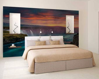 Wall Decal Exotic, Wall Decal Forest, Wall Mural Woods, Waterfall Wall Mural, Exotic Wallpaper
