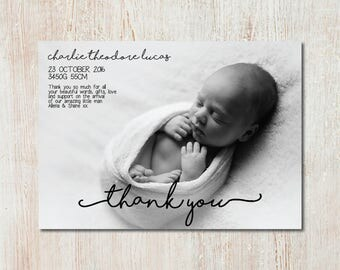 Birth announcement & thank you card - DIGITAL FILE