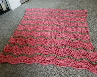 SALE!  Crochet rustic pink and tan baby girl ripple blanket