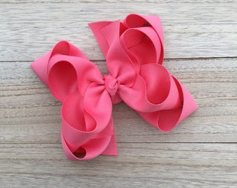 Double stacked boutique hair bows, double layer hair bows, pink double stacked hair bows, girls hair bows, 5 inch hair bows, pink hair bow