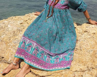 Long turquoise pink Indian cotton voile dress and Brown print vintage Bohemian