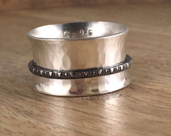 Sterling Silver Spinner Ring - Patterned Silver - Oxidized - Antiqued - Contrast - Fiddle Ring - Fidget Ring - Worry Ring - Wide Band