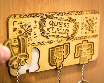 "Monster Hunter Inspired ""Quest Clear!"" Lasercut & engraved keyring and wall mount"