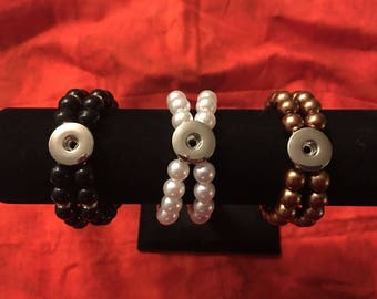 Vintage Imitation Pearl Bracelets in Various Colors - Add Your Own 18mm Interchangeable Snap