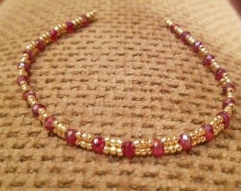 Red and Gold Glass Beaded Bracelet
