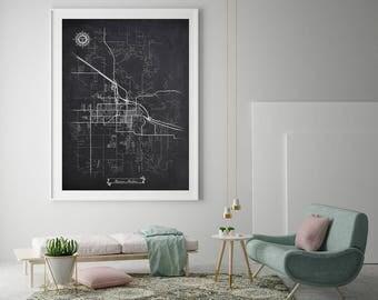 BOZEMAN Montana Chalkboard Map Art Black and White Bozeman MT Vintage City Map Graphic Detailed Scheme Street Map Wall Art Decor