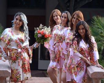 "FREE SHIPPING Set Of ""7"" Floral Satin Bridal Robes - Silk Floral Robe - Dressing Gown - Bridesmaid Robes- Satin Kimono Robe"
