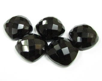 5 pieces 14mm Black Onyx Checker Faceted Cushion Bottom Flat Gemstone, Black Onyx Cushion Faceted Checker Cabochon Gemstone