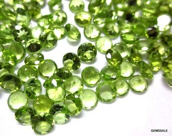 5 pieces 7mm PERIDOT Faceted Round Loose Gemstone, AAA Quality Green Peridot Round Faceted, Peridot Faceted Round Gemstone, Faceted Peridot
