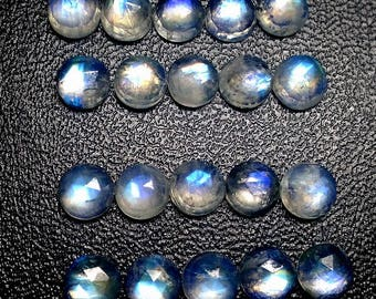 10 pieces 8mm Rainbow moonstone Rose cut round cabochon, Rainbow Moonstone Round Rosecut Cabochons, Rainbow Moonstone Rosecut Round Cabochon