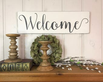 "Wood welcome sign | rustic wood sign | welcome sign | entryway decor | fixer upper decor | rustic wall decor | 24""x7.25"""