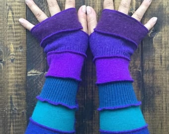 Fingerless Gloves Gloves - Made from Recycled Sweaters// Dragon Gauntlets //Arm Warmers