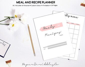 Meal Planner, Recipe Planner, Recipe Binder, Grocery List, Weekly Meal Planner, Menu Planning, Recipe Card, Custom Color, Printable Planner