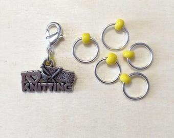 I Love Knitting Stitch Marker Set | Snagless Stitch Markers Set of 6 | Progress Keeper | Zipper Pull | Planner Charm