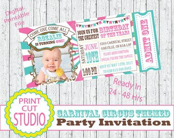Girly Carnival Circus Themed Party Invitation Personalized Printable Digital File - Pink - Teal - Under The Big Top - Come One Come All